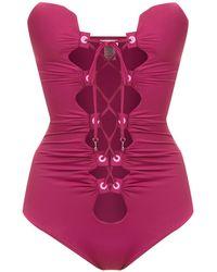 Amir Slama Lace Up Detail Swimsuit - Розовый