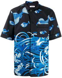 Valentino - Hemd Mit Halblangen Ärmeln Und Fishrain-print - Lyst