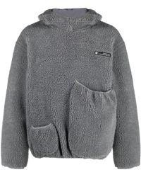 Xander Zhou Rear Logo Fleece Hoodie - Grey