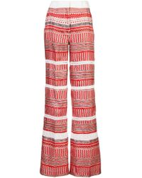 Derek Lam - Wide Leg Printed Pant With Lace Insets - Lyst