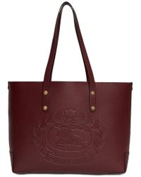 Burberry - Small Embossed Crest Leather Tote - Lyst 558a266b0d57e