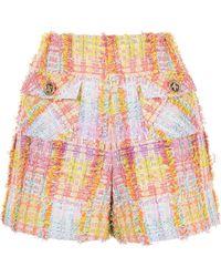 Edward Achour Paris High-waisted Tweed Shorts - Multicolour