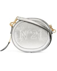 N°21 Сумка Через Плечо С Тисненым Логотипом - Металлик