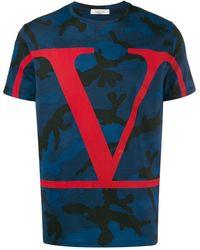 Valentino T-shirt en coton à imprimé Vlogo et camouflage - Bleu