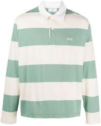 AMI Полосатая Рубашка Поло С Вышитым Логотипом - Зеленый