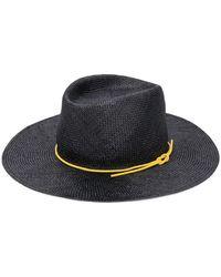 Maison Michel Contrast-string Straw Hat - ブラック