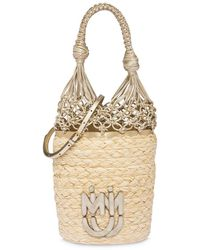 Miu Miu Straw Mesh Bucket Bag - Natural