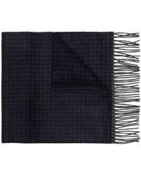 Canali ハウンドトゥース スカーフ - ブルー
