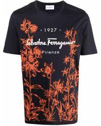 Ferragamo Футболка 1927 С Цветочным Принтом - Черный