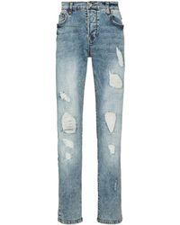 True Religion Schmale Distressed-Jeans - Blau
