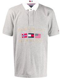 Tommy Hilfiger Poloshirt Met Borduurwerk - Grijs