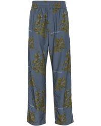Off-White c/o Virgil Abloh X Browns Blue Floral Print Cotton Blend Trousers - Blauw