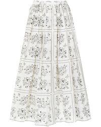 Sara Lanzi Falda midi con motivo floral - Blanco