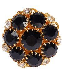 Dolce & Gabbana Позолоченное Кольцо С Кристаллами - Черный