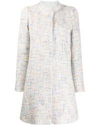Emporio Armani Tweed Tailored Coat - Blue