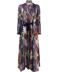 Forte Forte Abstract Print Belted Coat - Blue
