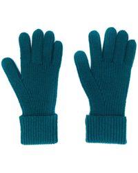 N.Peal Cashmere リブ手袋 - ブルー
