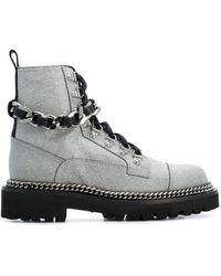 Balmain Chain-trimmed Boots - Grey