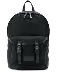 Versace Backpack With Leather Inserts - Black