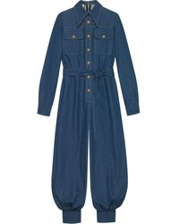 Gucci グッチベルト付き デニム ジャンプスーツ - ブルー