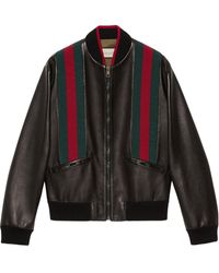 Gucci Leather Bomber Jacket With Web - Black