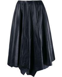 Marni レザー ミディスカート - ブラック