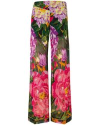 Twin Set - Summer Garden Print Palazzo Trousers - Lyst