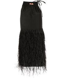 Yves Salomon Feathered Mini Dress - Black