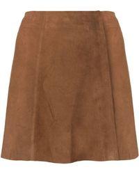 Arma Suede A-line Mini Skirt - Brown