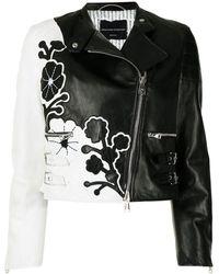 Ermanno Scervino Floral-pattern Leather Jacket - Black