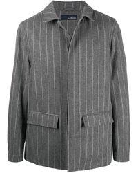 Lardini Однобортное Пальто В Полоску - Серый