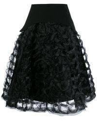 Comme des Garçons Ruffled sculptural A-line skirt - Negro