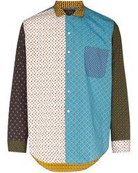 Beams Plus ペイズリー カラーブロック シャツ - ブルー