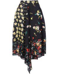 Derek Lam Asymmetrical Mixed Print Skirt - Noir