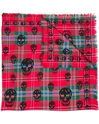 Alexander McQueen Pañuelo con estampado de cuadros y calaveras - Rojo