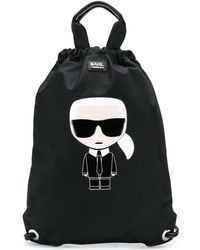Karl Lagerfeld K/ikonik ナイロンフラットバックパック - ブラック