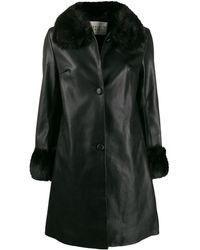 Charlotte Simone Faux Fur Trim Coat - Black