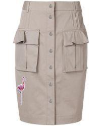 Karl Lagerfeld - Patch-appliqué Button Front Skirt - Lyst