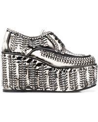 Prada Brushed Effect Platform Lace-up Shoes - White