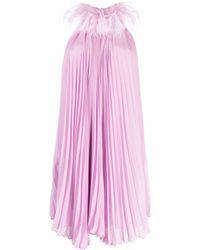 Styland フェザーカラー ドレス - ピンク