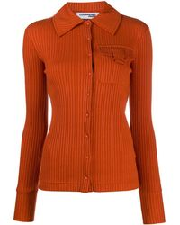Courreges Button-through Ribbed Shirt - Orange