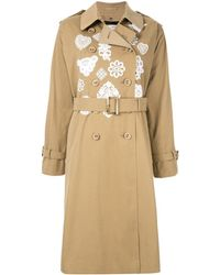 Tu Es Mon Tresor Embroidered Detail Trench Coat - Green
