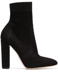 Gianvito Rossi Black Sock 105 Leather Ankle Boots - Zwart