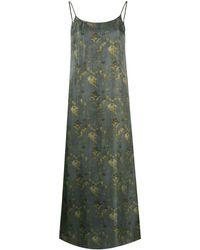 Uma Wang Платье-комбинация С Абстрактным Принтом - Зеленый