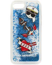 Karl Lagerfeld - Liquid Glitter Karl Capitain Icons Iphone Case - Lyst