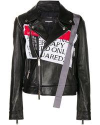 DSquared² Front Patch Biker Jacket - Black