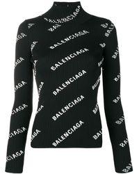 Balenciaga Alllover Logo Open Back Sweater - Black