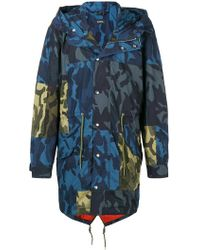 DIESEL - Camouflage Print Parka Coat - Lyst