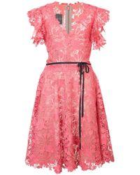 Monique Lhuillier - Belted Lace Dress - Lyst