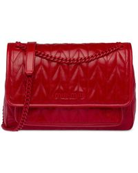 Miu Miu Стеганая Сумка На Плечо С Металлическим Логотипом - Красный